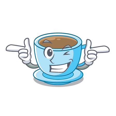 Wink cup milk tea above cartoon table vector ilustration