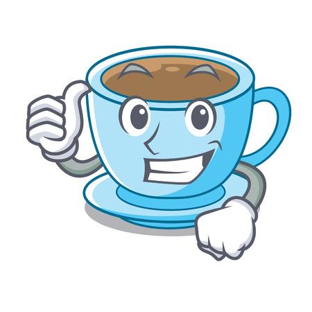 Thumbs up cup milk tea above cartoon table vector ilustration