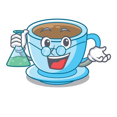 Professor cup milk tea above cartoon table vector ilustration