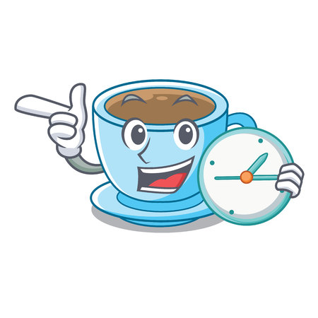 With clock cup milk tea above cartoon table vector ilustration Illustration