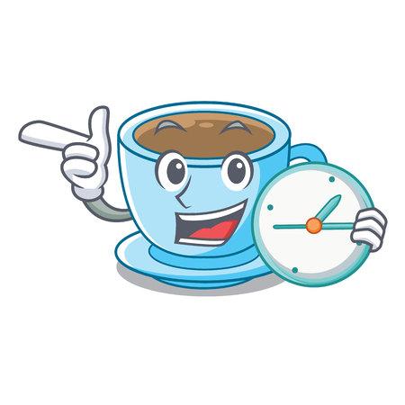 With clock cup milk tea above cartoon table vector ilustration Ilustração