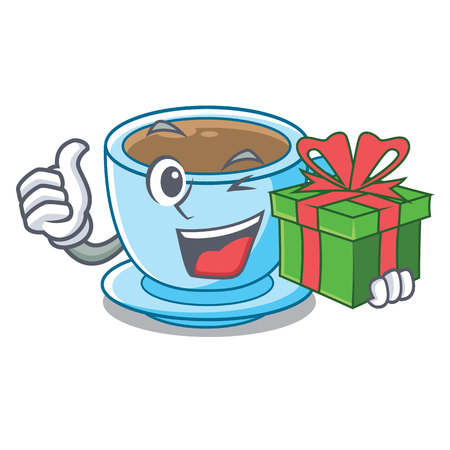 With gift milk tea in character the shape vector illustration
