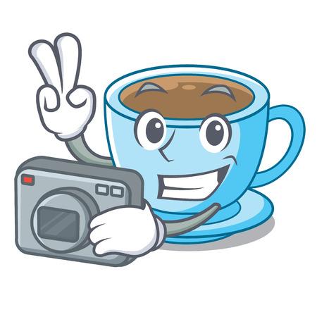 Photographer milk tea in character the shape vector illustration