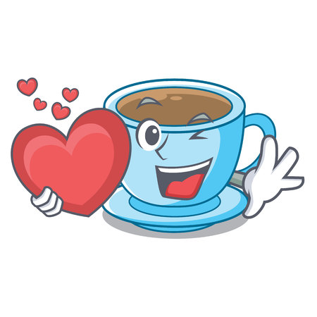 With heart milk tea in character the shape vector illustration Ilustrace