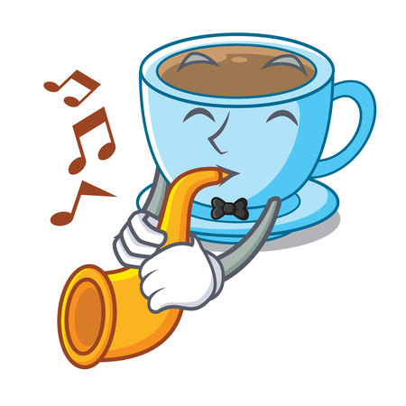 With trumpet milk tea in character the shape vector illustration