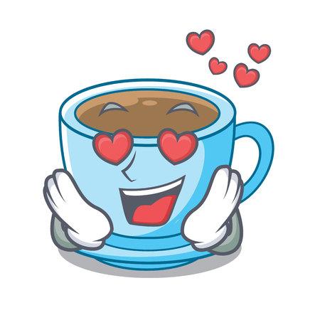 In love milk tea in character the shape vector illustration
