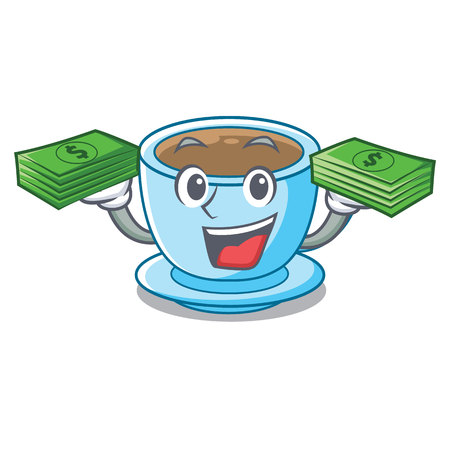 With money bag milk tea in character the shape vector illustration