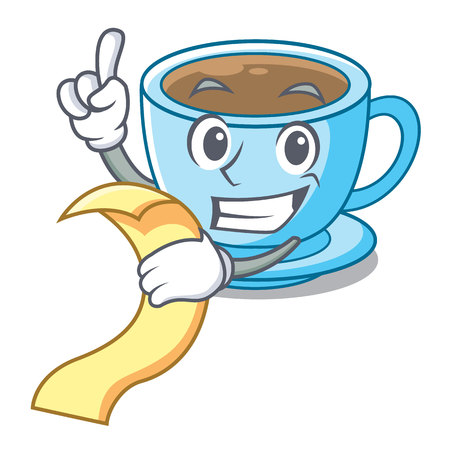 With menu milk tea in character the shape vector illustration