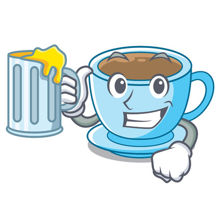With juice milk tea in character the shape vector illustration