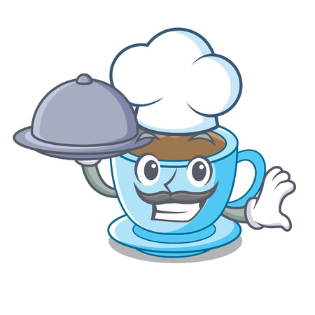 Chef with food milk tea in character the shape vector illustration