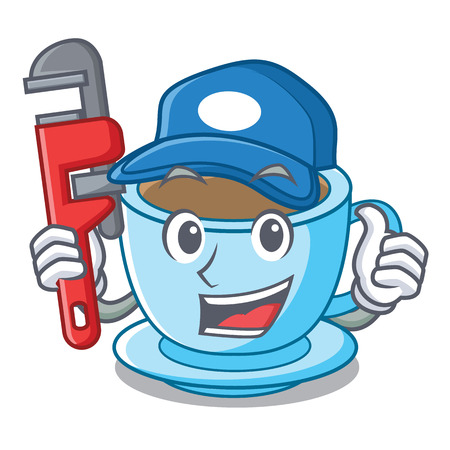 Plumber milk tea isolated with the mascot vector illustration