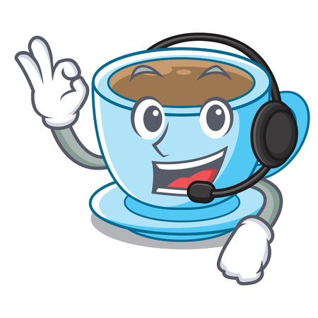 With headphone milk tea isolated with the mascot vector illustration