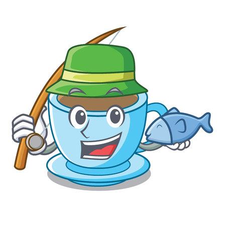 Fishing milk tea in character the shape vector illustration