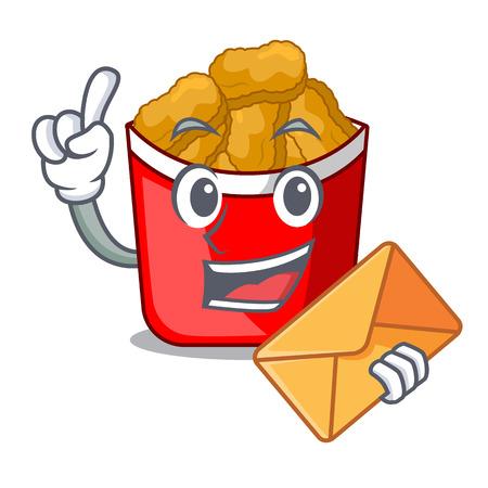 With envelope Chicken nuggets on above cartoon plate vector illustration Ilustração