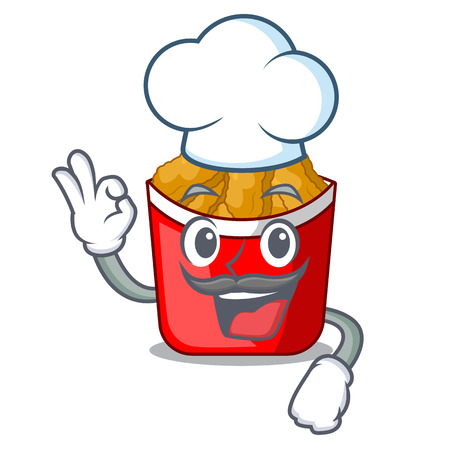 Chef Chicken nuggets on above cartoon plate Illustration