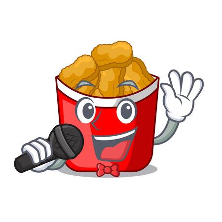 Singing chicken nuggets in the cartoon shape vector illustration