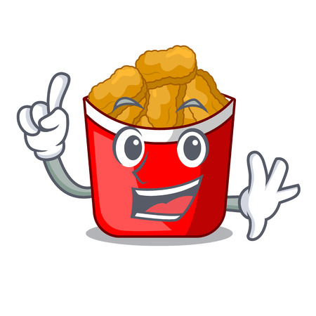 Finger chicken nuggets in a mascot bowl vector illustration
