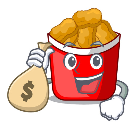 With money bag chicken nuggets isolated with the character vector illustration
