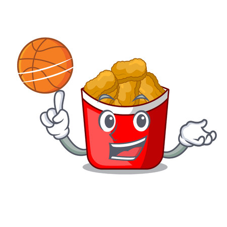 With basketball chicken nuggets isolated with the character vector illustration Ilustração