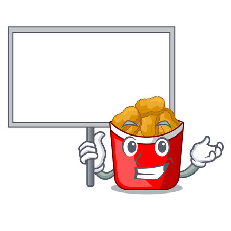 Bring board chicken nuggets isolated with the character vector illustration