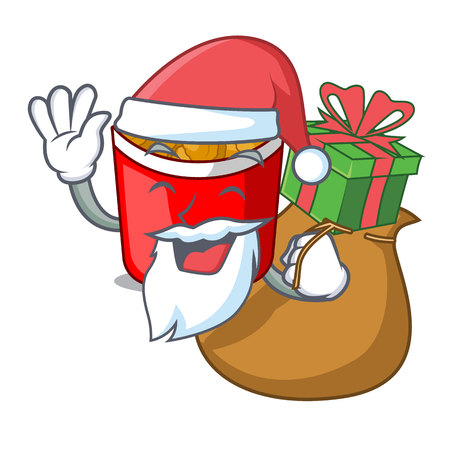Santa with gift chicken nuggets in a mascot bowl vector illustration Ilustracja