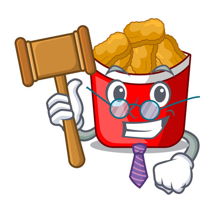 Judge chicken nuggets in a mascot bowl vector illustration