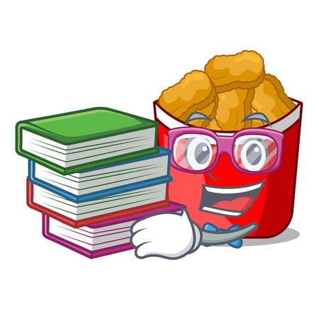 Student with book chicken nuggets in a mascot bowl vector illustration