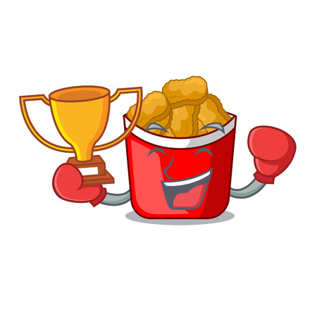 Boxing winner chicken nuggets in a mascot bowl vector illustration