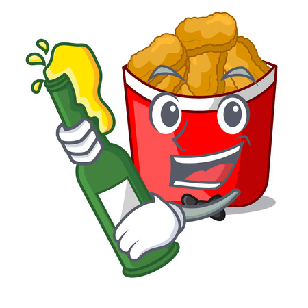 With beer chicken nuggets in a mascot bowl vector illustration