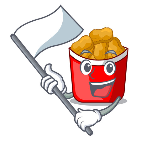 With flag chicken nuggets in a mascot bowl vector illustration
