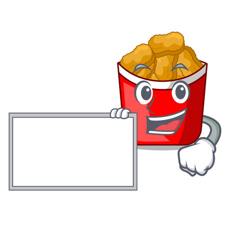 With board chicken nuggets isolated with the character vector illustration