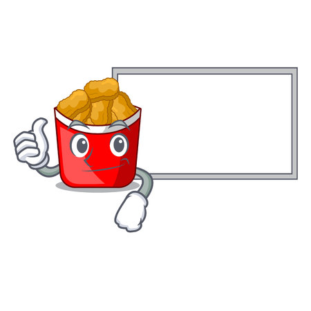 Thumbs up with board chicken nuggets isolated with the character vector illustration