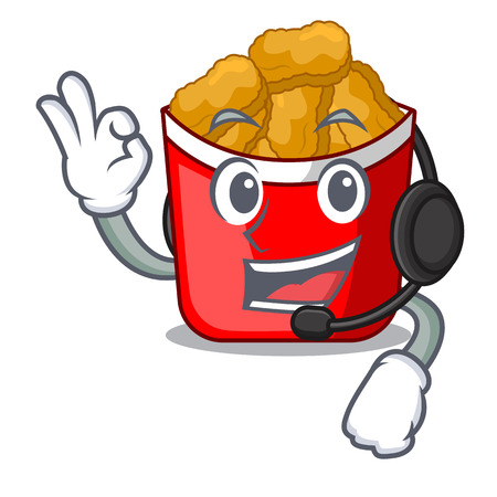 With headphone chicken nuggets in a mascot bowl vector illustration