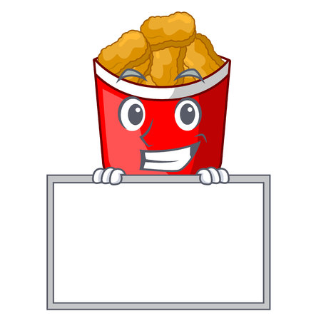 Grinning with board chicken nuggets isolated with the character vector illustration Illustration