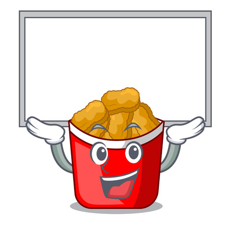 Up board chicken nuggets isolated with the character vector illustration Illustration