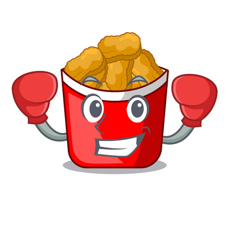 Boxing chicken nuggets isolated with the character vector illustration