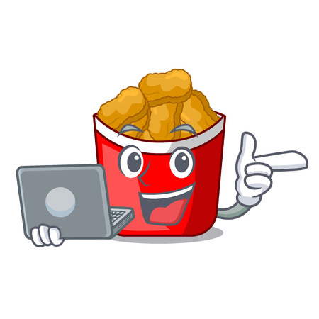 With laptop chicken nuggets isolated with the character vector illustration