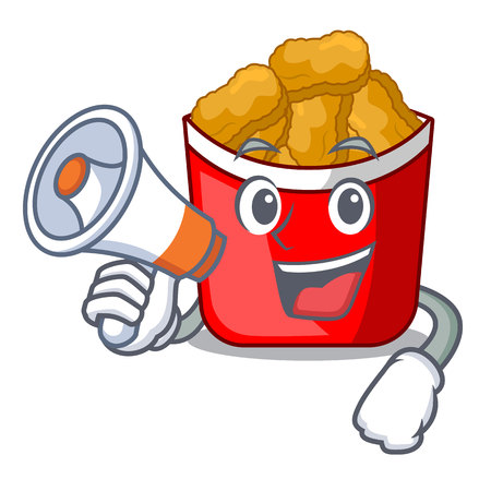 With megaphone chicken nuggets isolated with the character vector illustration Vektorové ilustrace