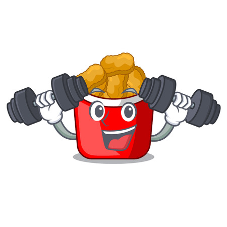 Fitness chicken nuggets isolated with the character vector illustration