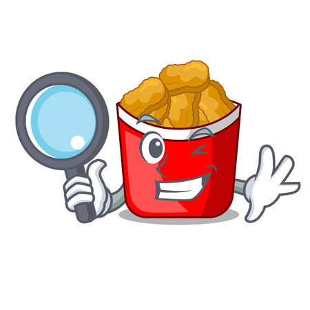 Detective Chicken nuggets on above cartoon plate Illustration