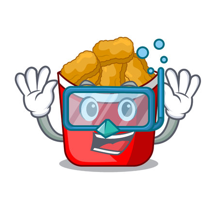 Diving Chicken nuggets on above cartoon plate vector illustration