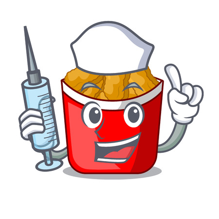 Nurse Chicken nuggets on above cartoon plate vector illustration