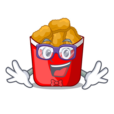 Geek Chicken nuggets on above cartoon plate vector illustration