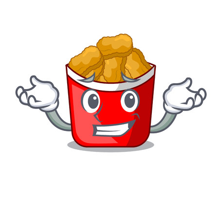 Grinning Chicken nuggets on above cartoon plate vector illustration Ilustrace