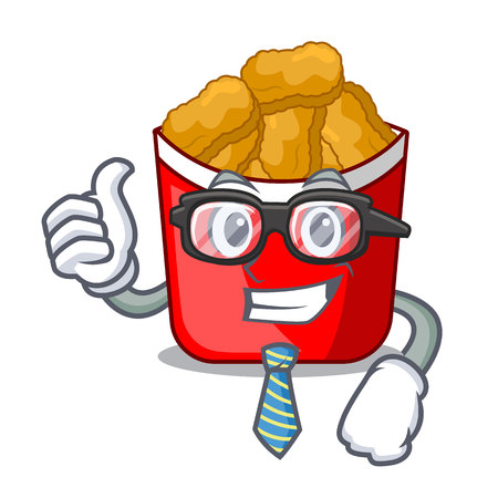 Businessman Chicken nuggets on above cartoon plate vector illustration Ilustrace