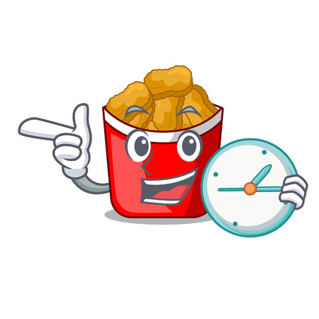 With clock Chicken nuggets on above cartoon plate vector illustration