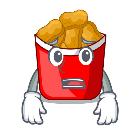 Afraid chicken nuggets in the cartoon shape vector illustration