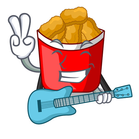 With guitar chicken nuggets in the cartoon shape vector illustration