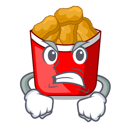 Angry chicken nuggets in the cartoon shape vector illustration