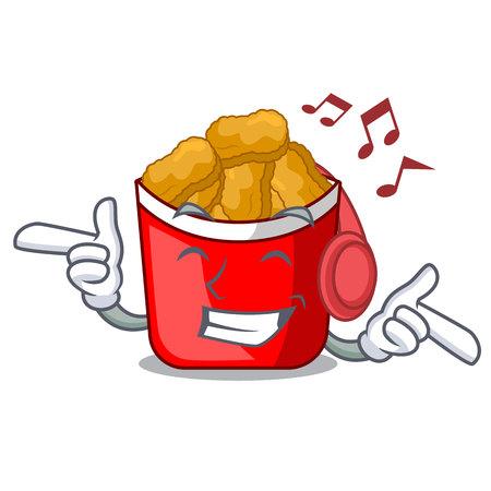 Listening music chicken nuggets in the cartoon shape vector illustration Illustration